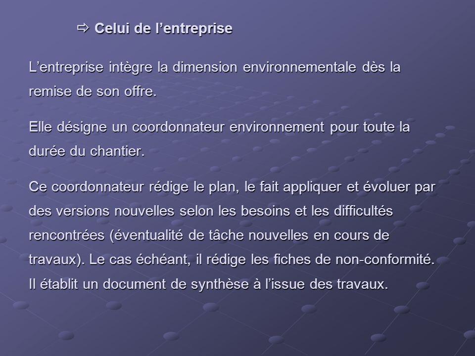 Celui de lentreprise Lentreprise intègre la dimension environnementale dès la remise de son offre.
