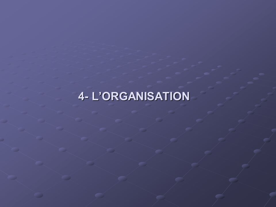 4- LORGANISATION