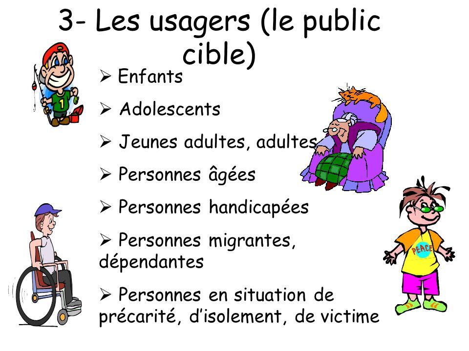 3- Les usagers (le public cible) Enfants Adolescents Jeunes adultes, adultes Personnes âgées Personnes handicapées Personnes migrantes, dépendantes Personnes en situation de précarité, disolement, de victime
