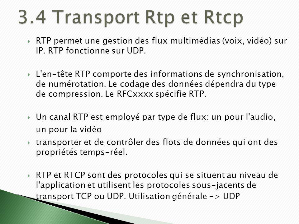 RTP permet une gestion des flux multimédias (voix, vidéo) sur IP.