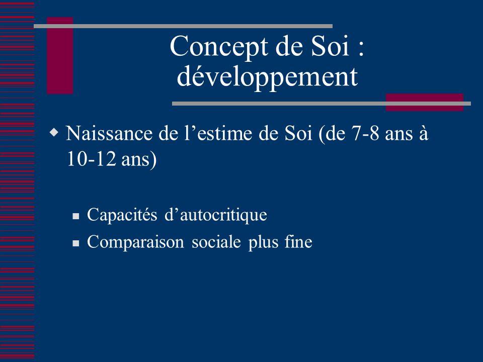 Concept de Soi : développement Naissance de lestime de Soi (de 7-8 ans à 10-12 ans) Capacités dautocritique Comparaison sociale plus fine