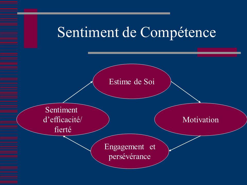 Sentiment de Compétence Estime de Soi Engagement et persévérance Sentiment defficacité/ fierté Motivation