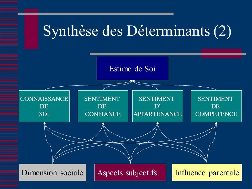 Synthèse des Déterminants (2) Estime de Soi Aspects subjectifsDimension socialeInfluence parentale CONNAISSANCE DE SOI SENTIMENT DE CONFIANCE SENTIMENT D APPARTENANCE SENTIMENT DE COMPETENCE