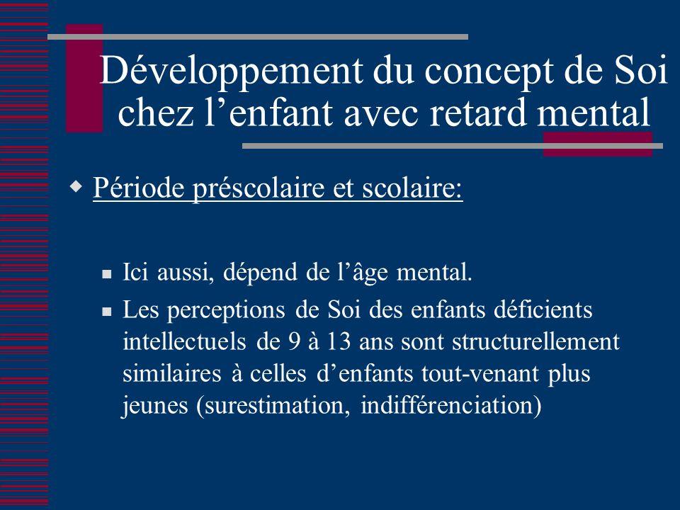 Développement du concept de Soi chez lenfant avec retard mental Période préscolaire et scolaire: Ici aussi, dépend de lâge mental.