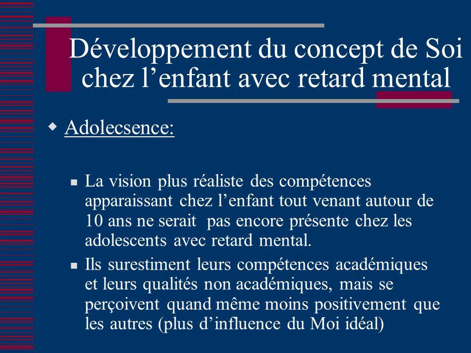 Développement du concept de Soi chez lenfant avec retard mental Adolecsence: La vision plus réaliste des compétences apparaissant chez lenfant tout venant autour de 10 ans ne serait pas encore présente chez les adolescents avec retard mental.