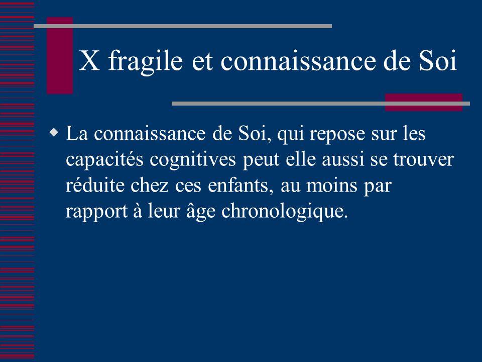 X fragile et connaissance de Soi La connaissance de Soi, qui repose sur les capacités cognitives peut elle aussi se trouver réduite chez ces enfants, au moins par rapport à leur âge chronologique.