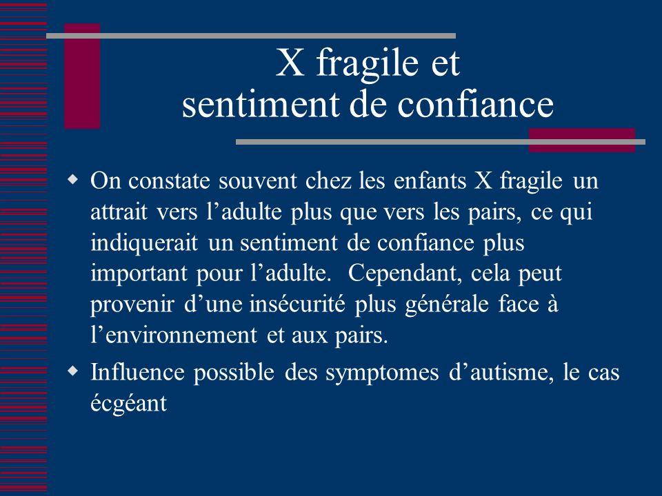 X fragile et sentiment de confiance On constate souvent chez les enfants X fragile un attrait vers ladulte plus que vers les pairs, ce qui indiquerait un sentiment de confiance plus important pour ladulte.