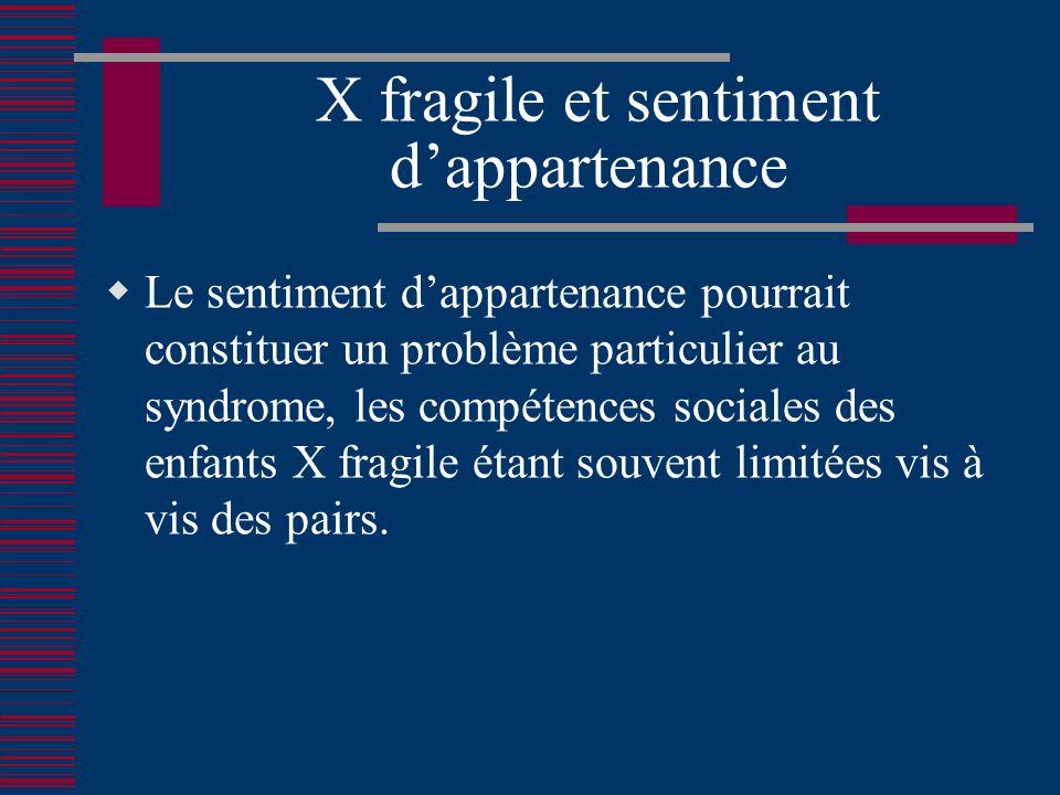 X fragile et sentiment dappartenance Le sentiment dappartenance pourrait constituer un problème particulier au syndrome, les compétences sociales des enfants X fragile étant souvent limitées vis à vis des pairs.