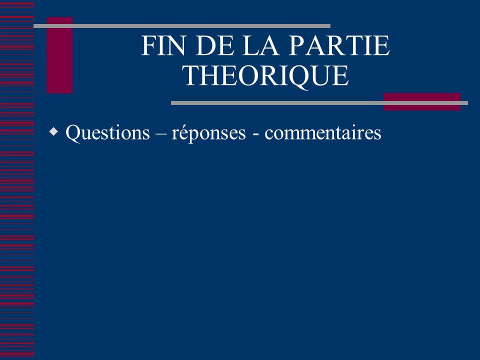 FIN DE LA PARTIE THEORIQUE Questions – réponses - commentaires