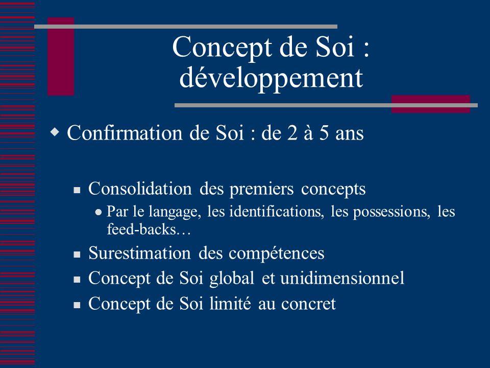 Concept de Soi : développement Confirmation de Soi : de 2 à 5 ans Consolidation des premiers concepts Par le langage, les identifications, les possessions, les feed-backs… Surestimation des compétences Concept de Soi global et unidimensionnel Concept de Soi limité au concret