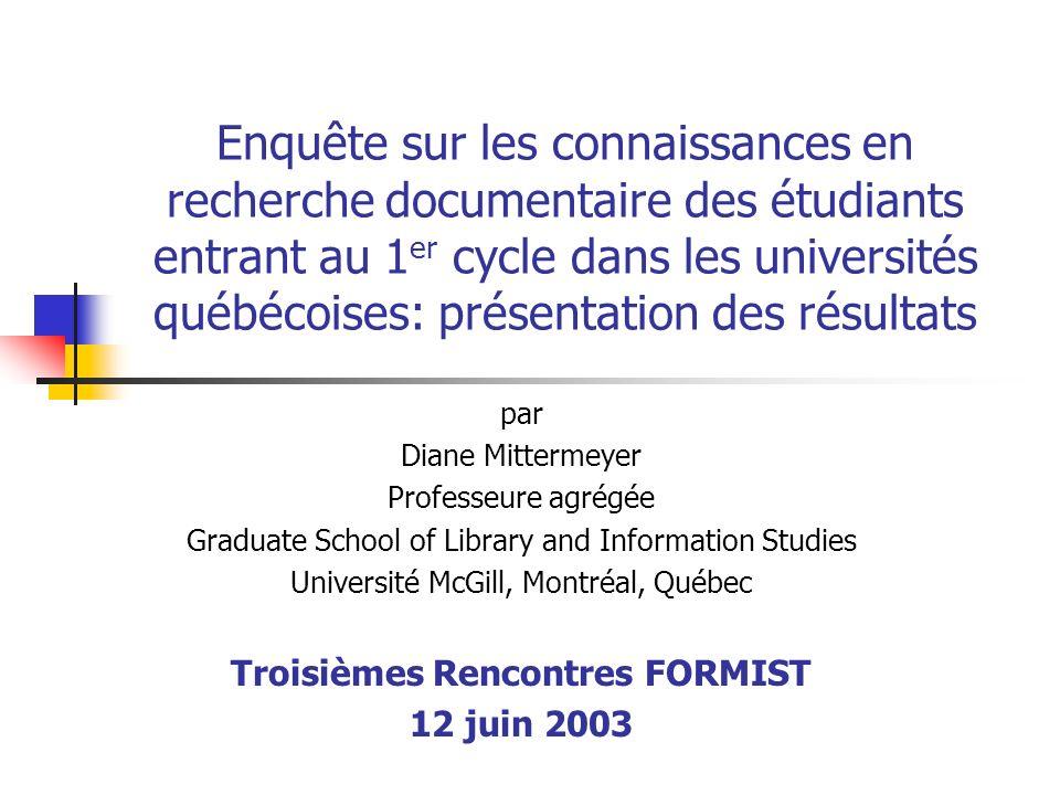 Troisièmes Rencontres FORMIST 12 juin 200352 Sur ce dernier point… Ne nous réjouissons pas trop tôt… À mon avis, un tel apprentissage ne peut se faire sans le partenariat des bibliothécaires et des professeurs… …et sur ce dernier point… …trop peu de réalisations à ce jour…