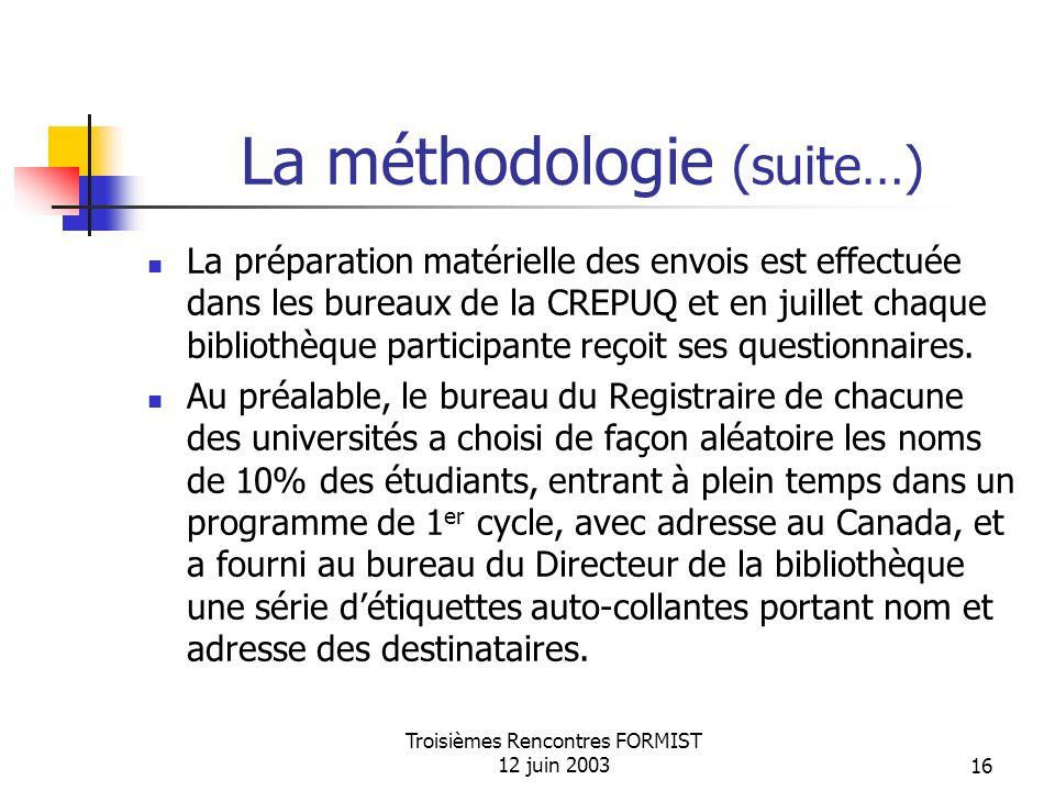 Troisièmes Rencontres FORMIST 12 juin 200316 La méthodologie (suite…) La préparation matérielle des envois est effectuée dans les bureaux de la CREPUQ et en juillet chaque bibliothèque participante reçoit ses questionnaires.