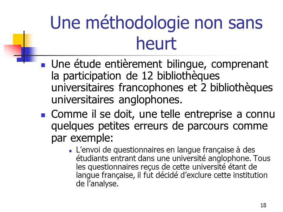 18 Une méthodologie non sans heurt Une étude entièrement bilingue, comprenant la participation de 12 bibliothèques universitaires francophones et 2 bibliothèques universitaires anglophones.