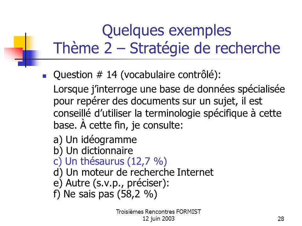 Troisièmes Rencontres FORMIST 12 juin 200328 Quelques exemples Thème 2 – Stratégie de recherche Question # 14 (vocabulaire contrôlé): Lorsque jinterroge une base de données spécialisée pour repérer des documents sur un sujet, il est conseillé dutiliser la terminologie spécifique à cette base.