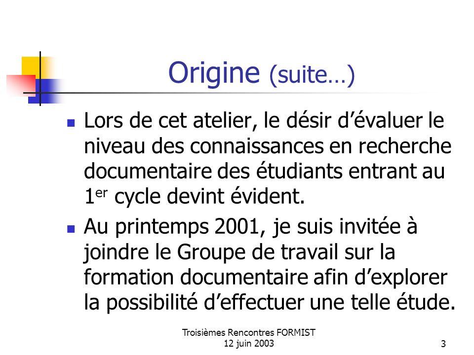 Troisièmes Rencontres FORMIST 12 juin 20033 Origine (suite…) Lors de cet atelier, le désir dévaluer le niveau des connaissances en recherche documentaire des étudiants entrant au 1 er cycle devint évident.