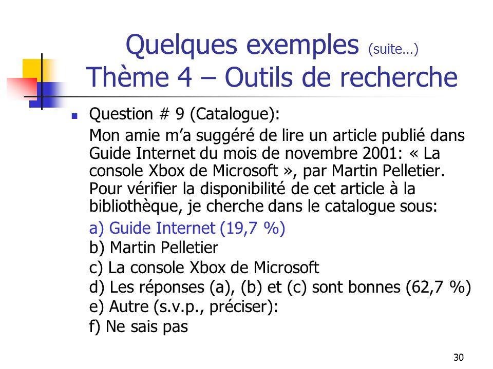 30 Quelques exemples (suite…) Thème 4 – Outils de recherche Question # 9 (Catalogue): Mon amie ma suggéré de lire un article publié dans Guide Internet du mois de novembre 2001: « La console Xbox de Microsoft », par Martin Pelletier.