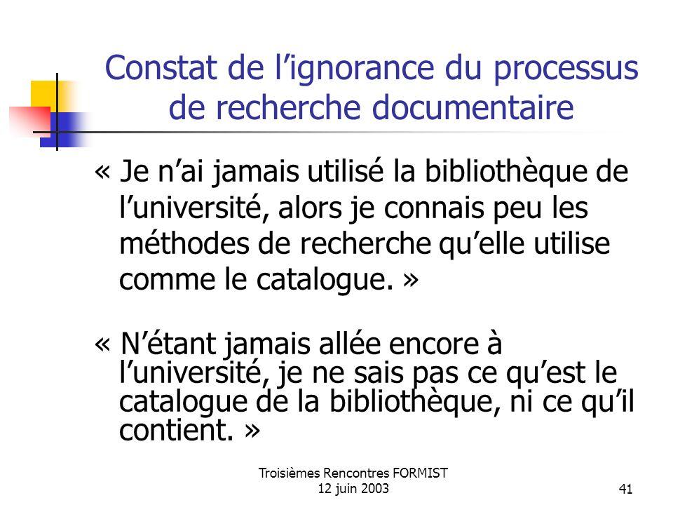 Troisièmes Rencontres FORMIST 12 juin 200341 Constat de lignorance du processus de recherche documentaire « Je nai jamais utilisé la bibliothèque de luniversité, alors je connais peu les méthodes de recherche quelle utilise comme le catalogue.