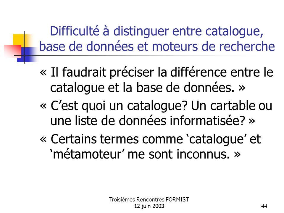 Troisièmes Rencontres FORMIST 12 juin 200344 Difficulté à distinguer entre catalogue, base de données et moteurs de recherche « Il faudrait préciser la différence entre le catalogue et la base de données.