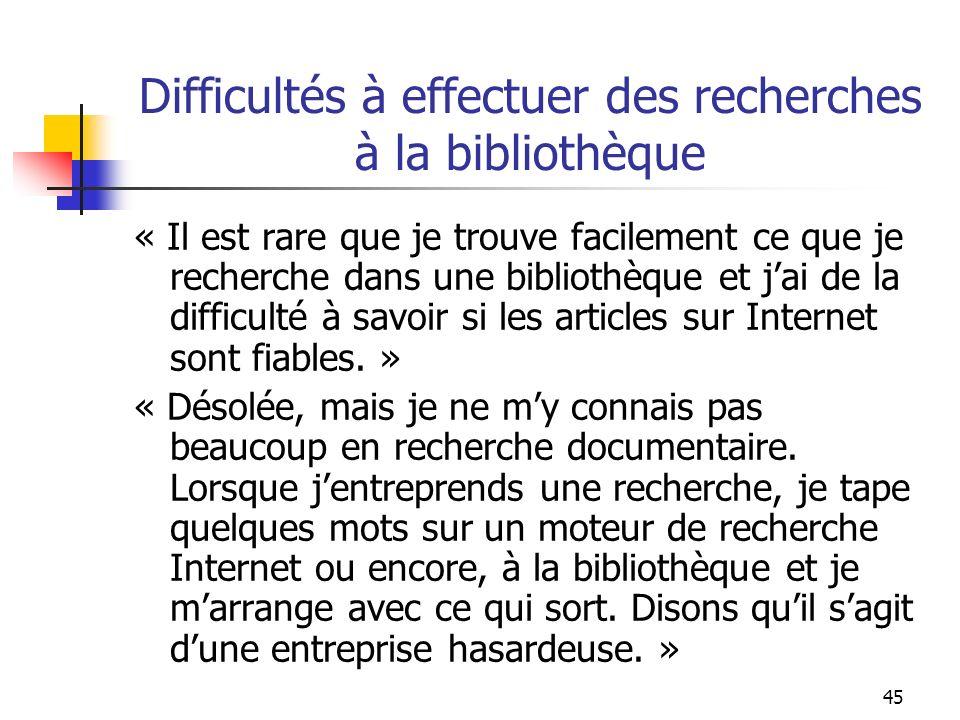 45 Difficultés à effectuer des recherches à la bibliothèque « Il est rare que je trouve facilement ce que je recherche dans une bibliothèque et jai de la difficulté à savoir si les articles sur Internet sont fiables.