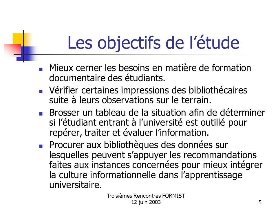 Troisièmes Rencontres FORMIST 12 juin 20035 Les objectifs de létude Mieux cerner les besoins en matière de formation documentaire des étudiants.
