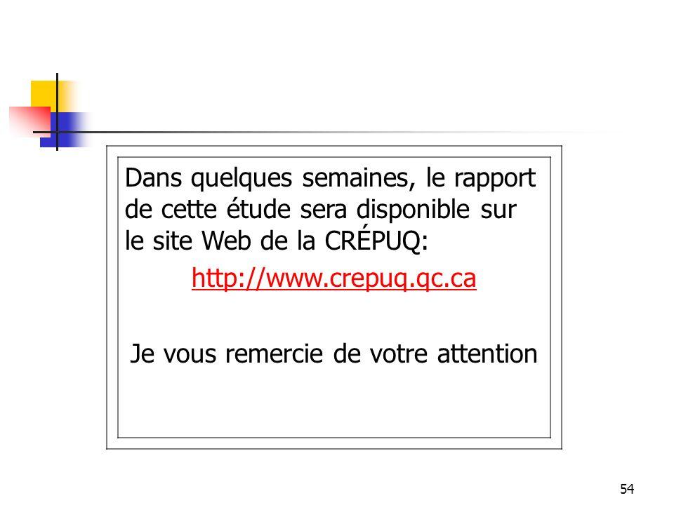 54 Dans quelques semaines, le rapport de cette étude sera disponible sur le site Web de la CRÉPUQ: http://www.crepuq.qc.ca Je vous remercie de votre attention