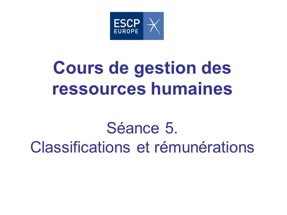 Cours de gestion des ressources humaines Séance 5. Classifications et rémunérations