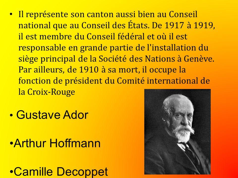 Il représente son canton aussi bien au Conseil national que au Conseil des États.