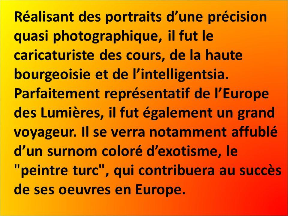 Réalisant des portraits dune précision quasi photographique, il fut le caricaturiste des cours, de la haute bourgeoisie et de lintelligentsia.