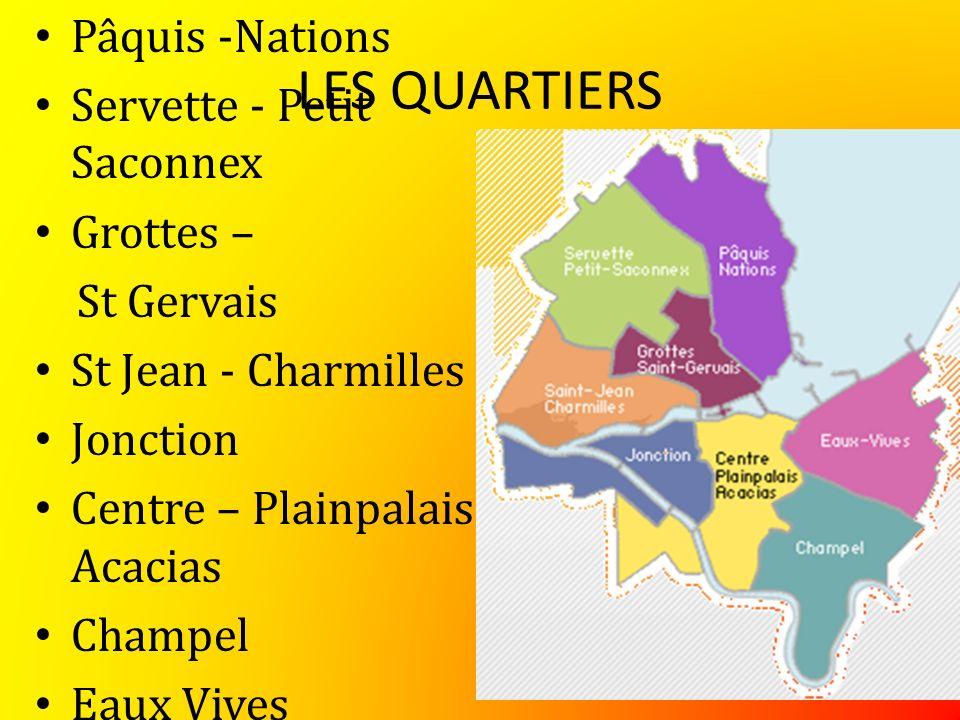 LES QUARTIERS Pâquis -Nations Servette - Petit Saconnex Grottes – St Gervais St Jean - Charmilles Jonction Centre – Plainpalais Acacias Champel Eaux Vives