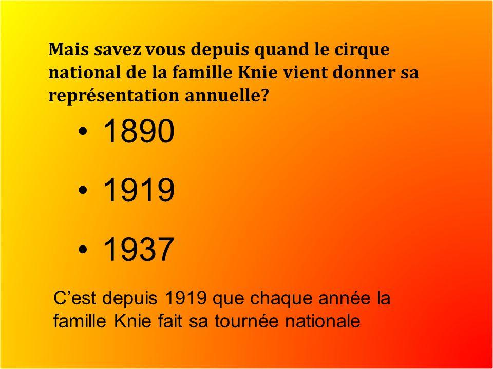 Mais savez vous depuis quand le cirque national de la famille Knie vient donner sa représentation annuelle.