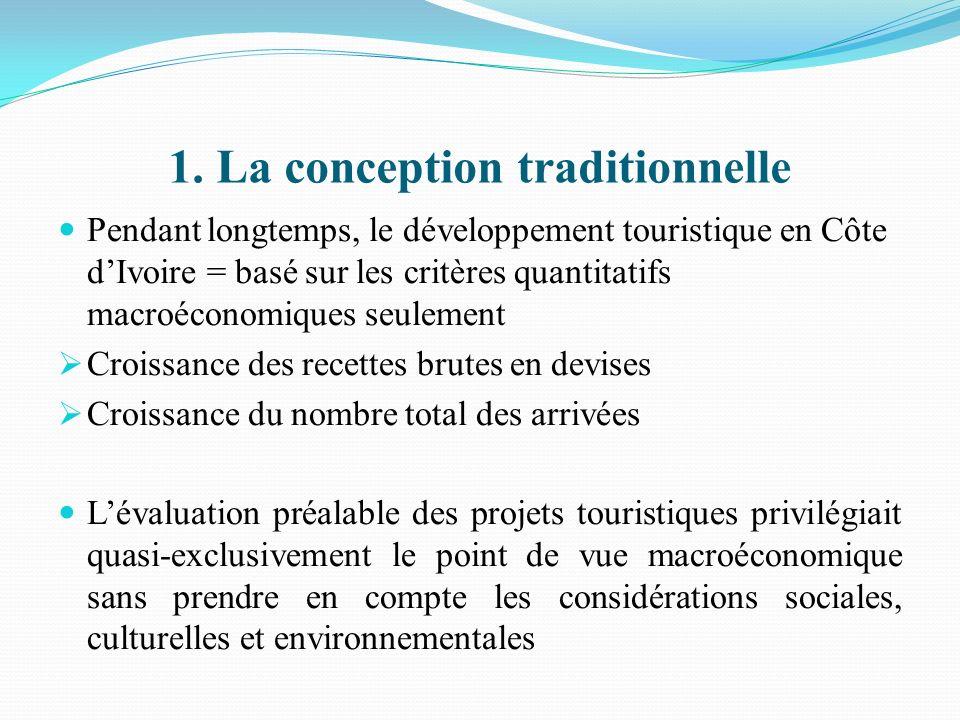1. La conception traditionnelle Pendant longtemps, le développement touristique en Côte dIvoire = basé sur les critères quantitatifs macroéconomiques