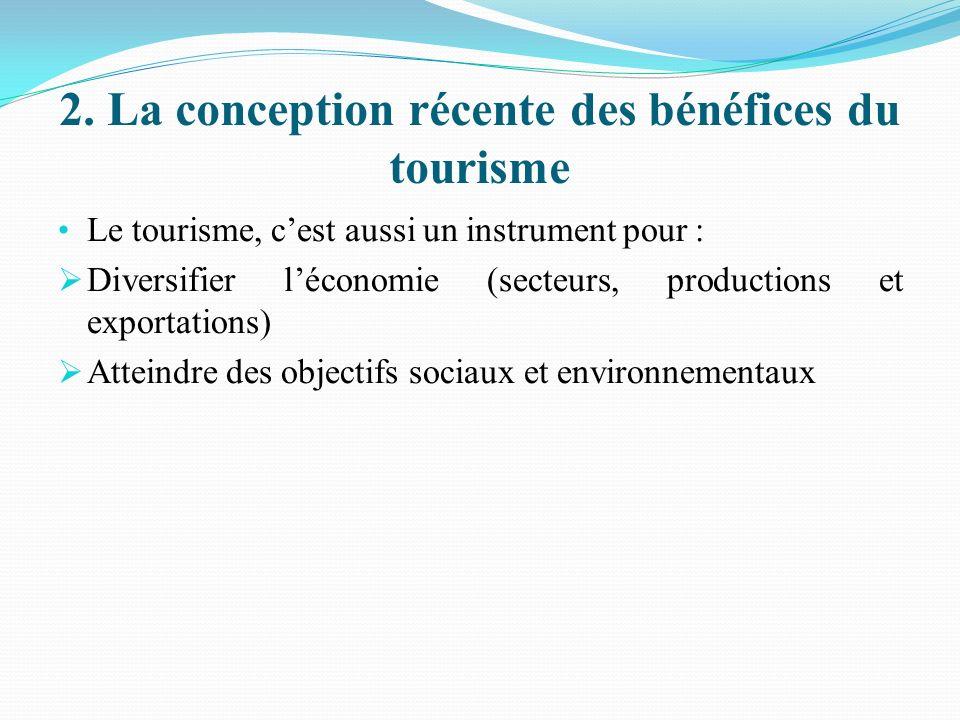 2. La conception récente des bénéfices du tourisme Le tourisme, cest aussi un instrument pour : Diversifier léconomie (secteurs, productions et export
