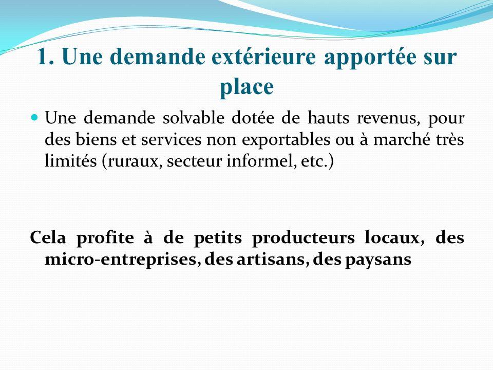 1. Une demande extérieure apportée sur place Une demande solvable dotée de hauts revenus, pour des biens et services non exportables ou à marché très