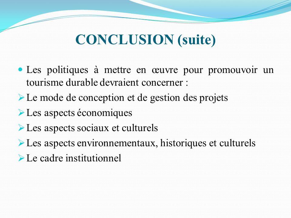 CONCLUSION (fin ) Ces politiques impliquent la participation active de tous les acteurs concernés : Privés et publics Individuels et communautaires Nationaux et étrangers