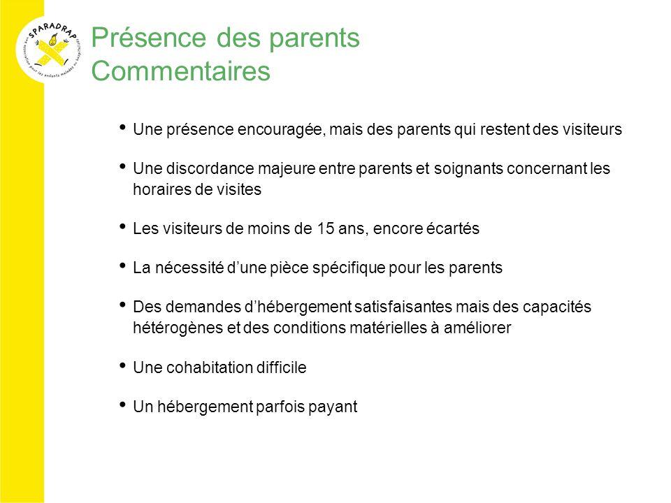 Présence des parents Commentaires Une présence encouragée, mais des parents qui restent des visiteurs Une discordance majeure entre parents et soignan