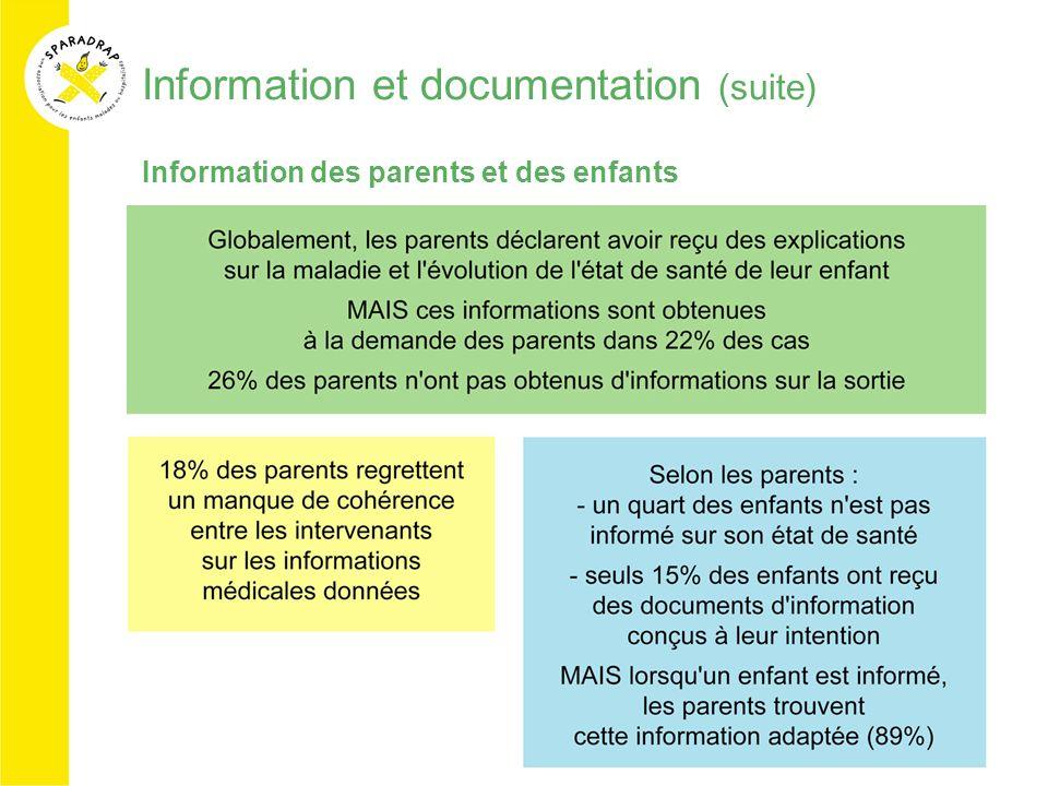 Information et documentation (suite) Information des parents et des enfants