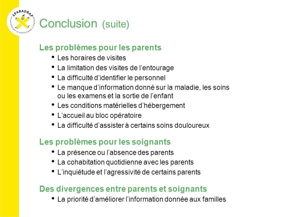 Conclusion (suite) Les problèmes pour les parents Les horaires de visites La limitation des visites de lentourage La difficulté didentifier le personn