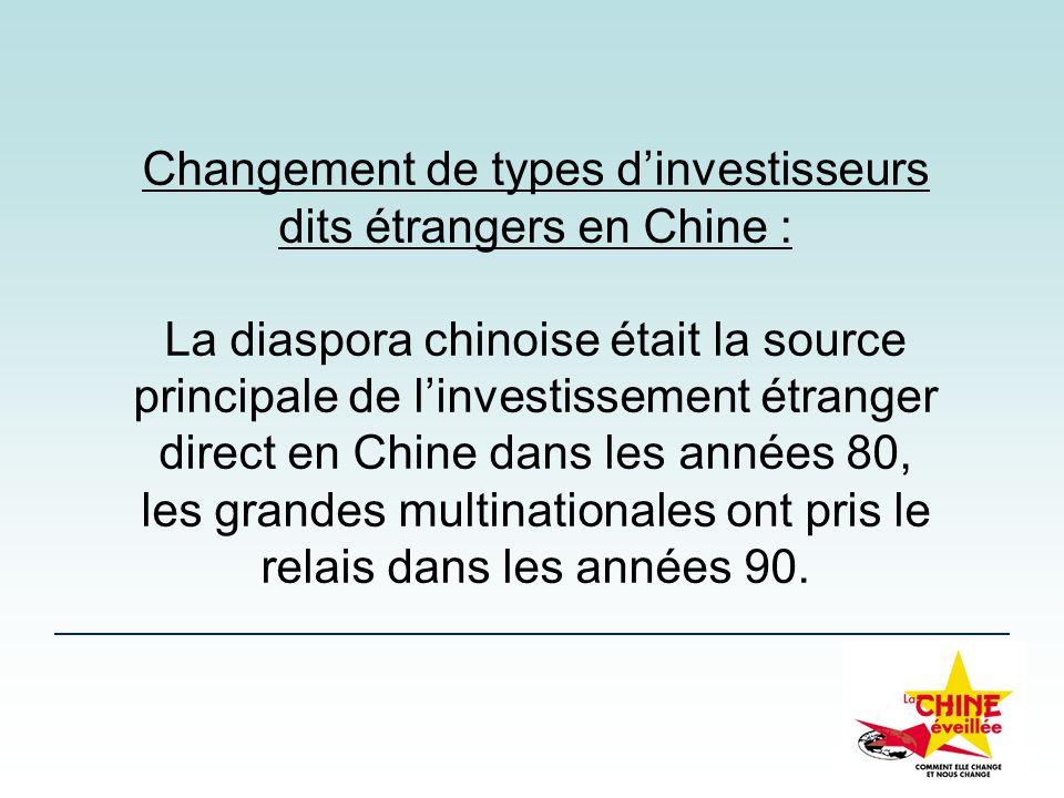 Changement de types dinvestisseurs dits étrangers en Chine : La diaspora chinoise était la source principale de linvestissement étranger direct en Chi