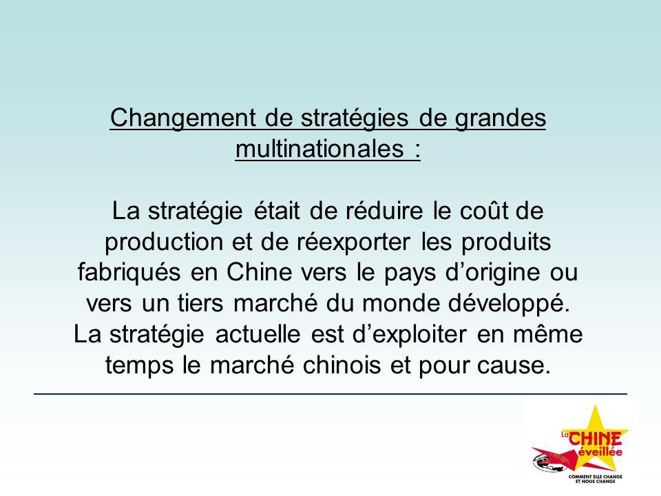 Changement de stratégies de grandes multinationales : La stratégie était de réduire le coût de production et de réexporter les produits fabriqués en C