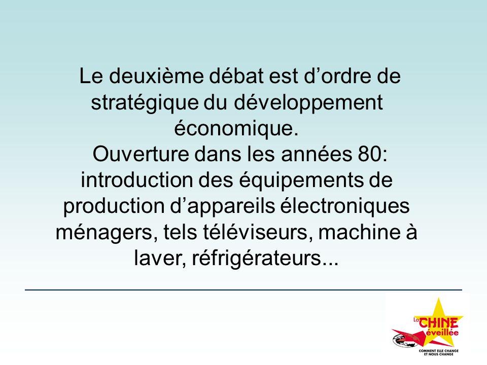 Le deuxième débat est dordre de stratégique du développement économique. Ouverture dans les années 80: introduction des équipements de production dapp