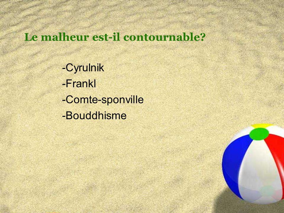 Le malheur est-il contournable -Cyrulnik -Frankl -Comte-sponville -Bouddhisme