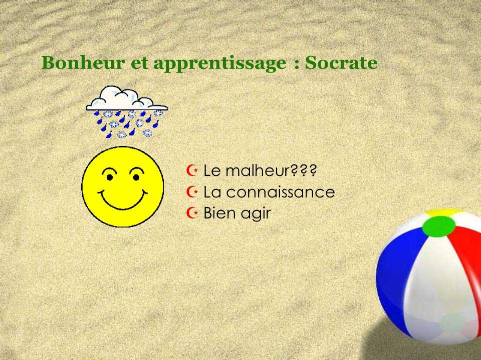 Bonheur et apprentissage : Socrate ZLe malheur ZLa connaissance ZBien agir