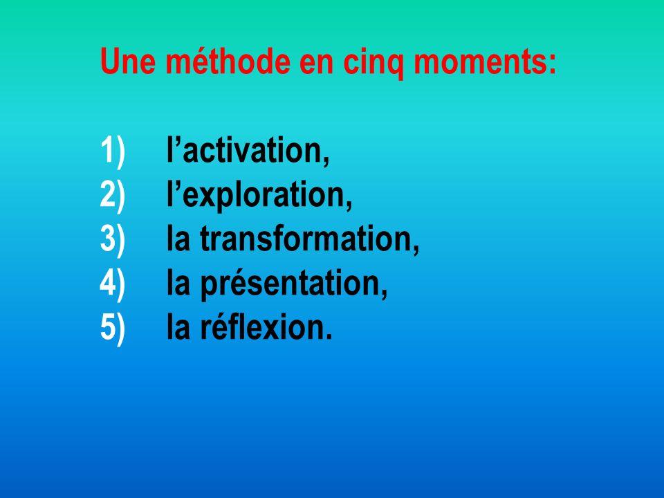 Une méthode en cinq moments: 1)lactivation, 2)lexploration, 3)la transformation, 4)la présentation, 5)la réflexion.