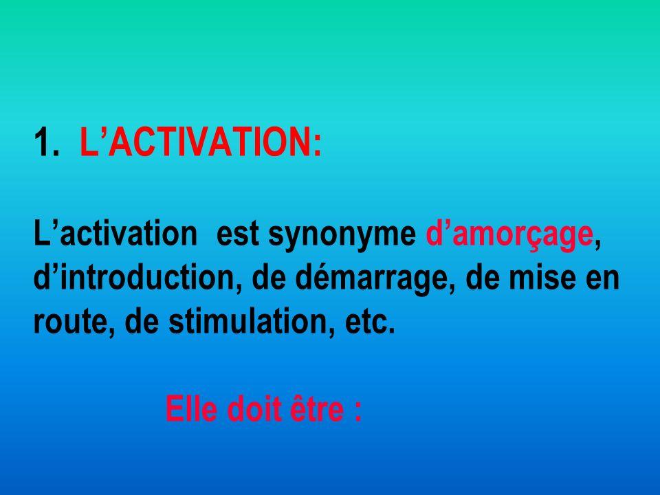 1. LACTIVATION: Lactivation est synonyme damorçage, dintroduction, de démarrage, de mise en route, de stimulation, etc. Elle doit être :