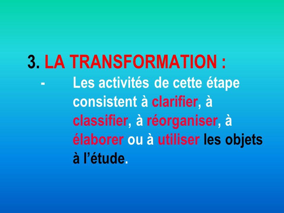 3. LA TRANSFORMATION : - Les activités de cette étape consistent à clarifier, à classifier, à réorganiser, à élaborer ou à utiliser les objets à létud