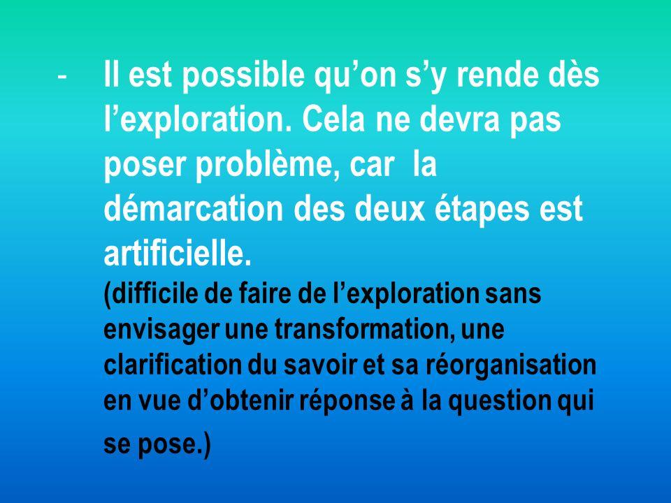 - - Il est possible quon sy rende dès lexploration. Cela ne devra pas poser problème, car la démarcation des deux étapes est artificielle. (difficile