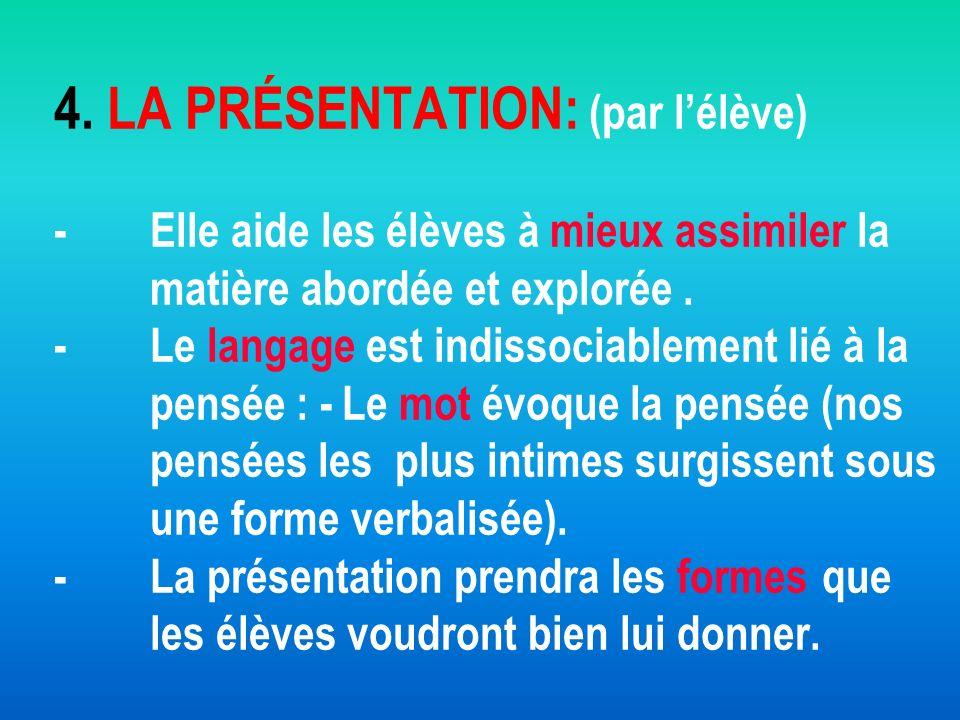4. LA PRÉSENTATION: (par lélève) -Elle aide les élèves à mieux assimiler la matière abordée et explorée. -Le langage est indissociablement lié à la pe