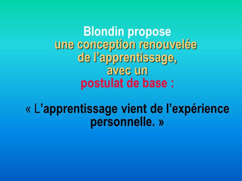 une conception renouvelée de lapprentissage, avec un Blondin propose une conception renouvelée de lapprentissage, avec un postulat de base : « L appre