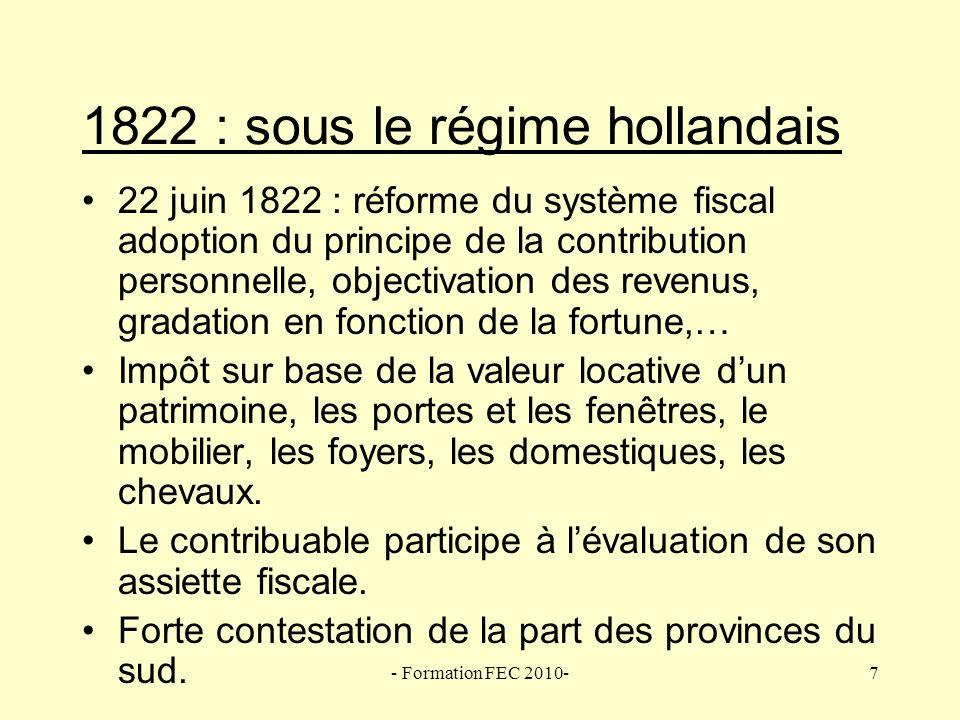 - Formation FEC 2010-8 La Belgique de 1830 à 1919 : système hollandais Fiscalité directe 1.