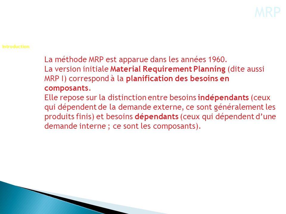 La méthode MRP est apparue dans les années 1960. La version initiale Material Requirement Planning (dite aussi MRP I) correspond à la planification de
